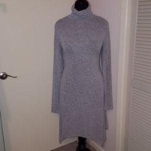 Grey Sweater Dress Hankercheif Hem